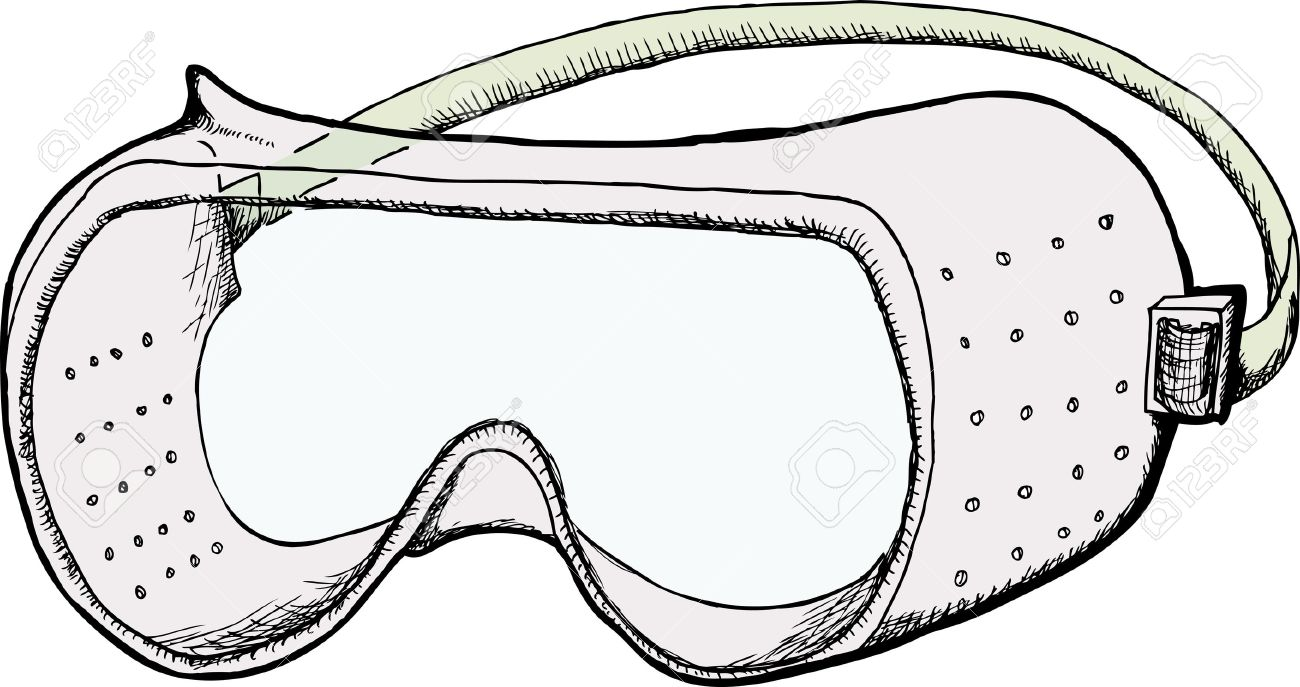 Safety Goggles With Ventilation Holes Isolated Over White Royalty.