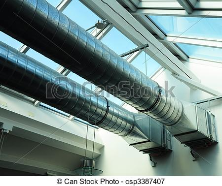 Picture of ventilation pipes of an new air condition for a cool.
