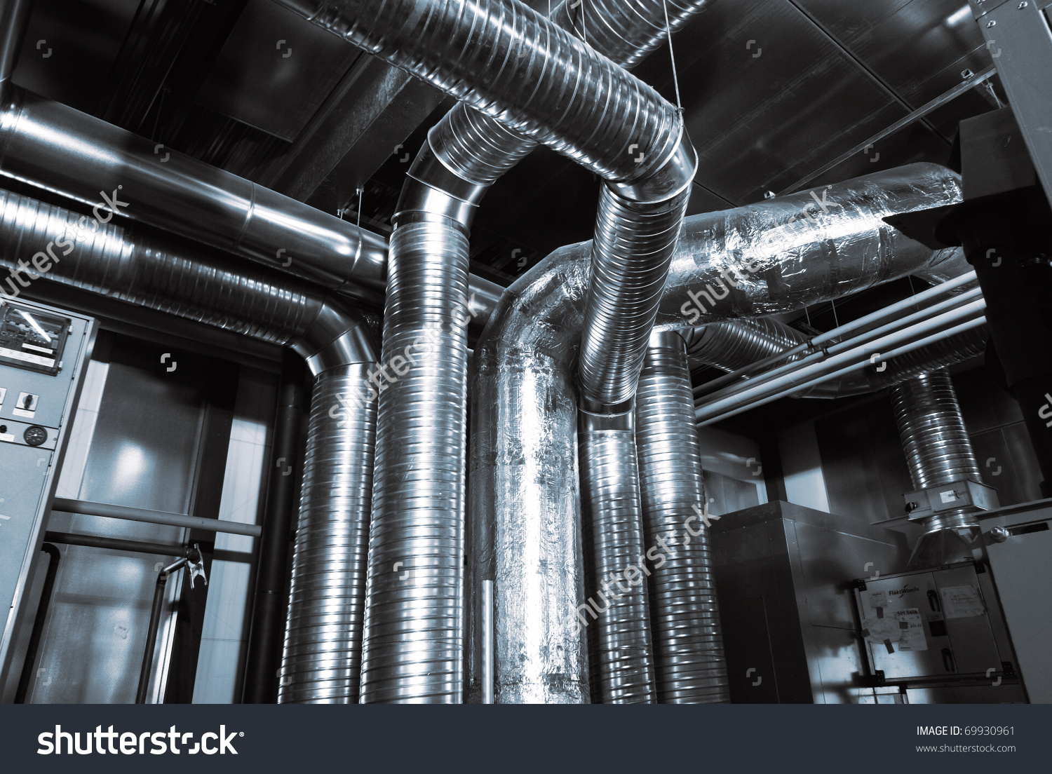 Ventilation Pipes Of An Air Condition Stock Photo 69930961.