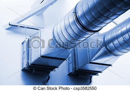 Stock Photography of ventilation pipes of an new air condition for.