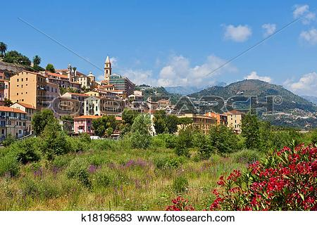 Stock Photo of Ventimiglia and overgrown riverbed. k18196583.