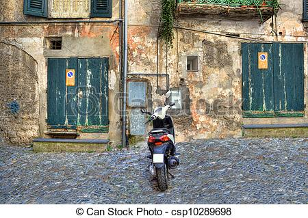 Stock Photographs of Traditional old backyard. Ventimiglia, Italy.