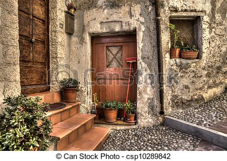 Stock Photo of Ancient house. Ventimiglia, Italy..
