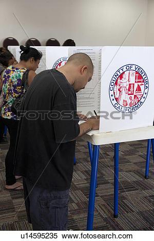 Stock Image of Voting in Ventura County California in Presidential.