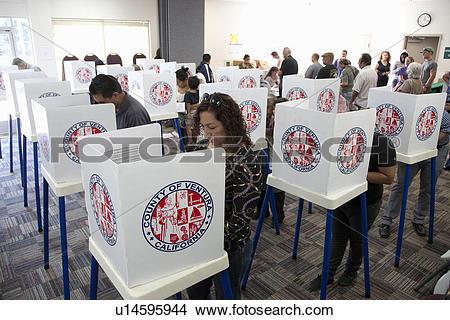 Stock Photo of Voting in Ventura County California in Presidential.