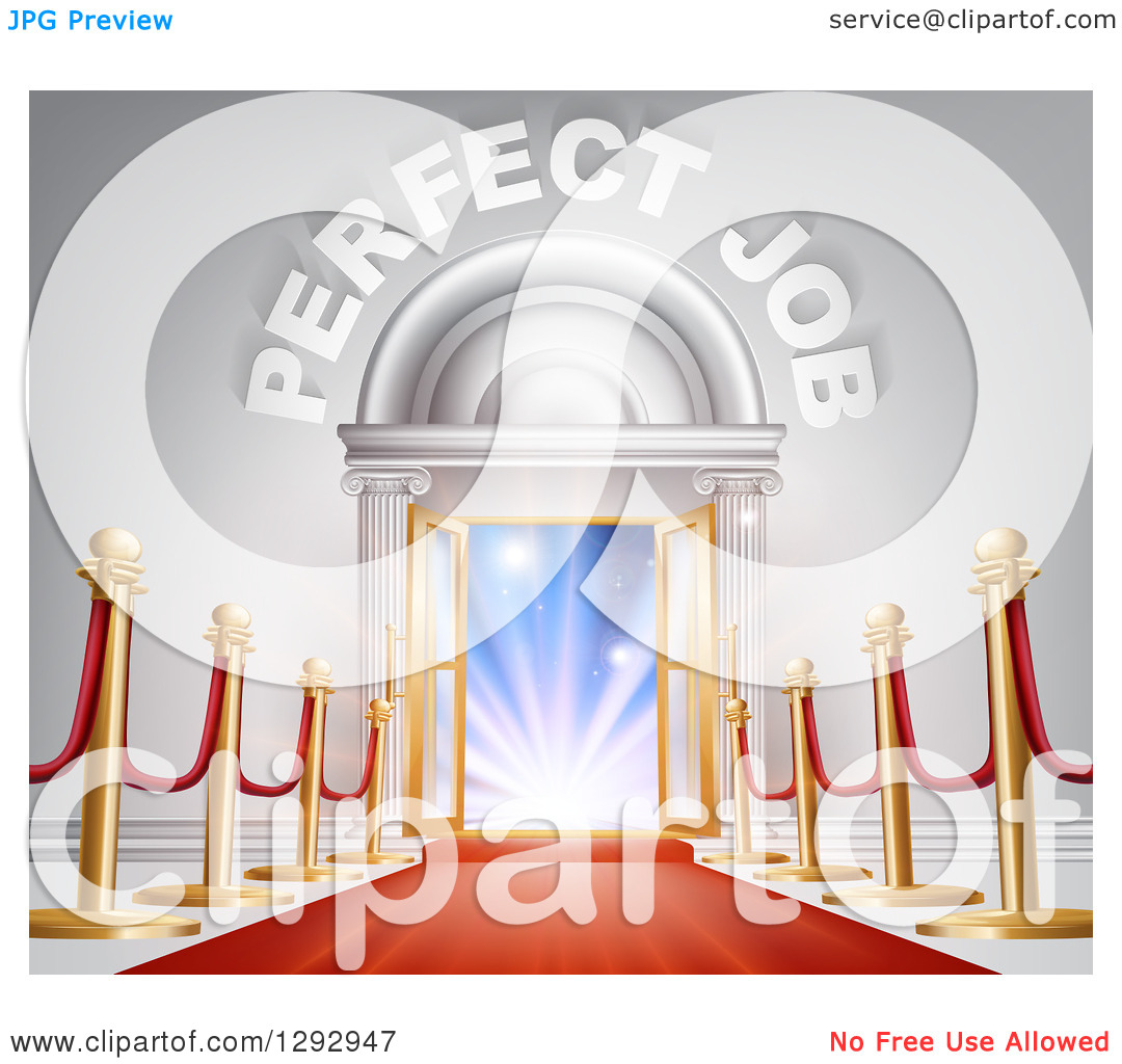 Clipart of a Venue Entrance with Perfect Job Text, Posts and Red.