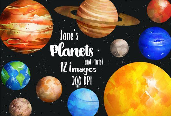 Watercolor Planets Clipart.