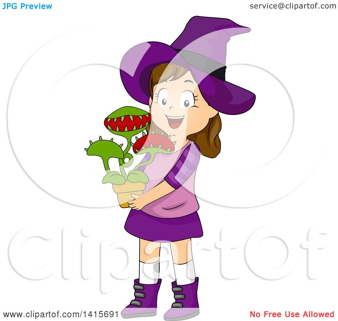 Clipart of a Brunette White Witch Girl Holding a Venus Fly Trap.