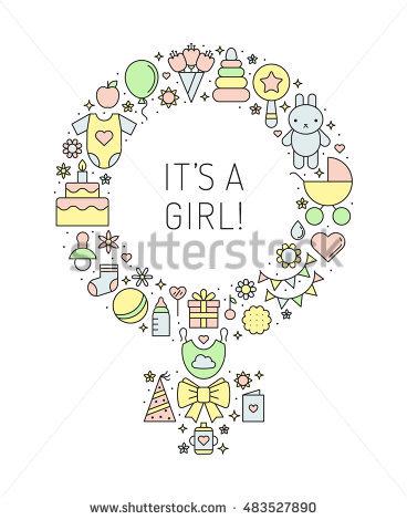 Baby Girl Boy Stuff Flat Multicolored Stock Vector 354923963.