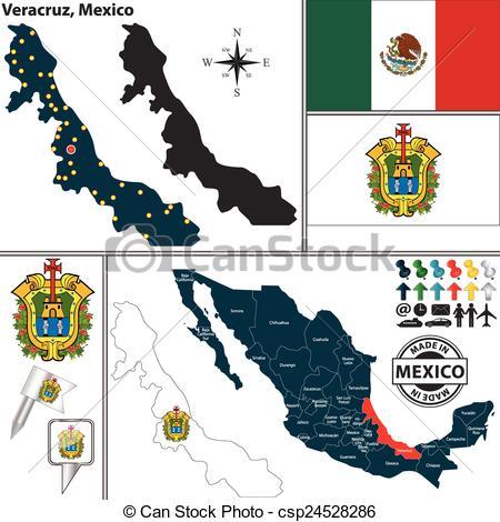 Vector of Map of Veracruz, Mexico.
