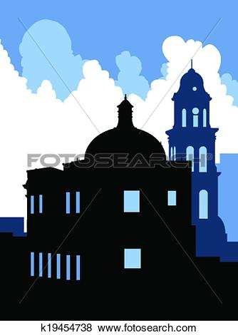 Clip Art of Veracruz Skyline k19454738.