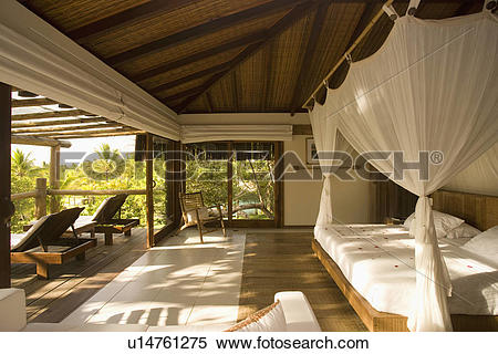 Stock Image of Verandah and bedroom at Beach house in Brazil.