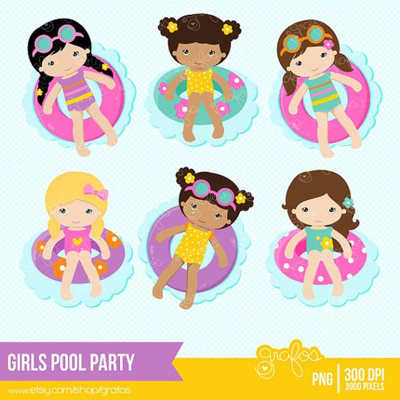 GIRLS POOL PARTY Clipart Piscina Clipart Verano Clipart por grafos.