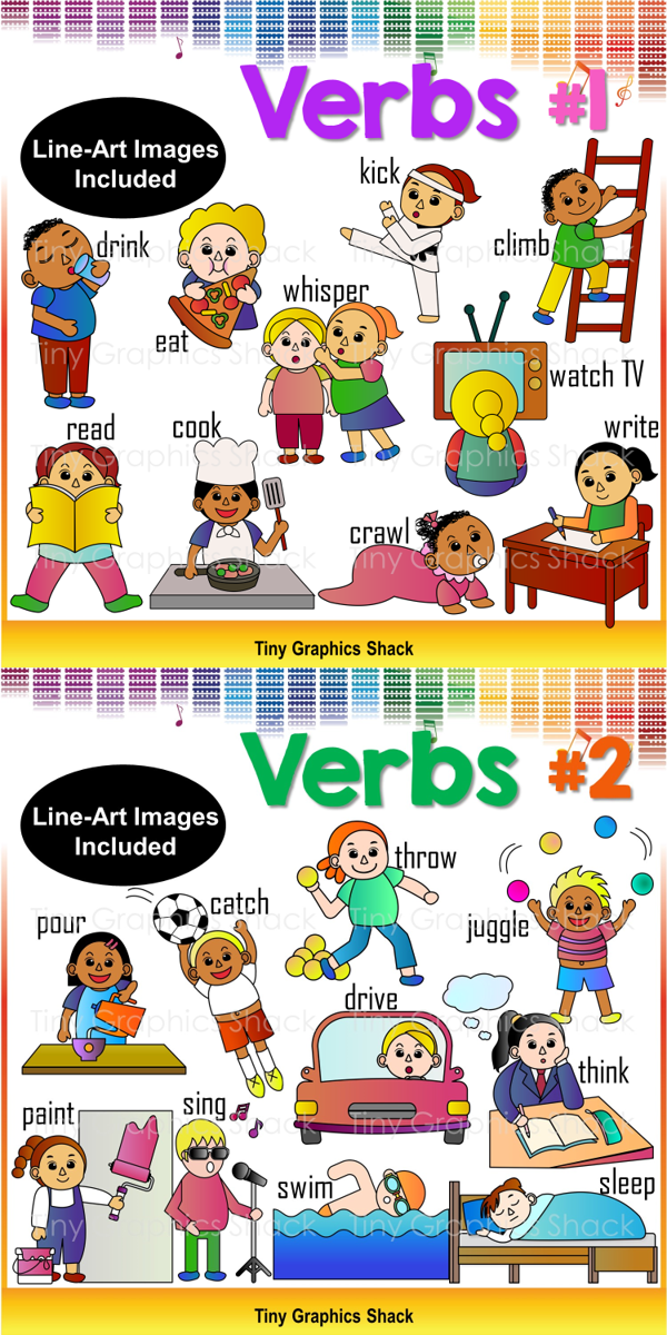 Verbs and Actions Clip Art #1.