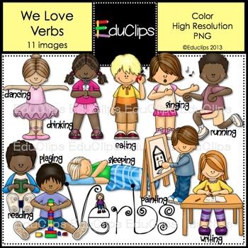 We Love Verbs Clip Art {Educlips Clipart} by Educlips.