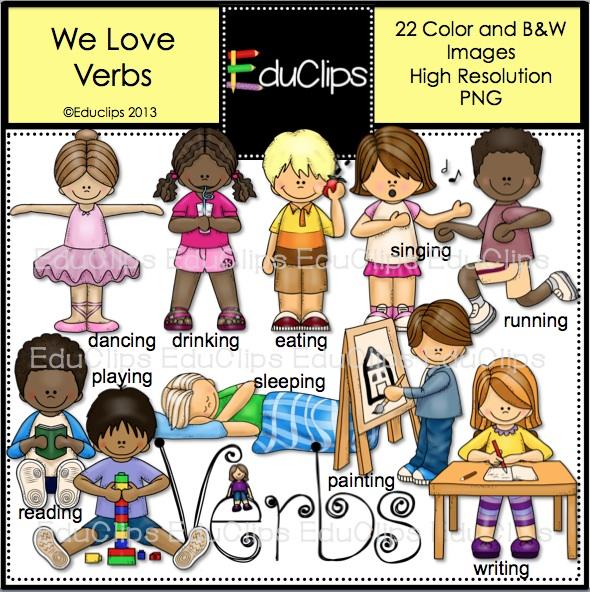 We Love Verbs Clip Art Bundle (Color and B&W).