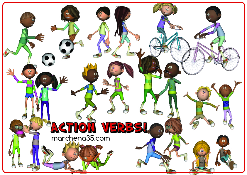 Action verbs clipart.