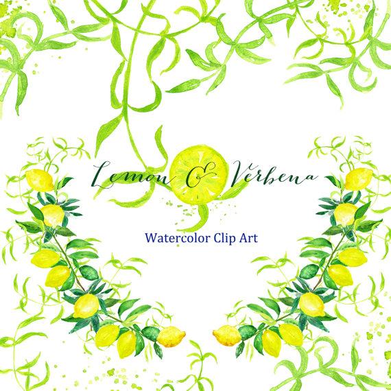 Lemon & verbena watercolor clipart hand drawn. Bright wedding.