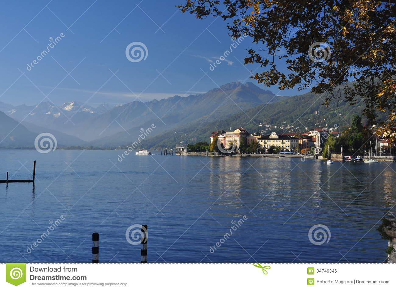 Lake Maggiore, Italy: Verbania Pallanza Lakeside Town Royalty Free.