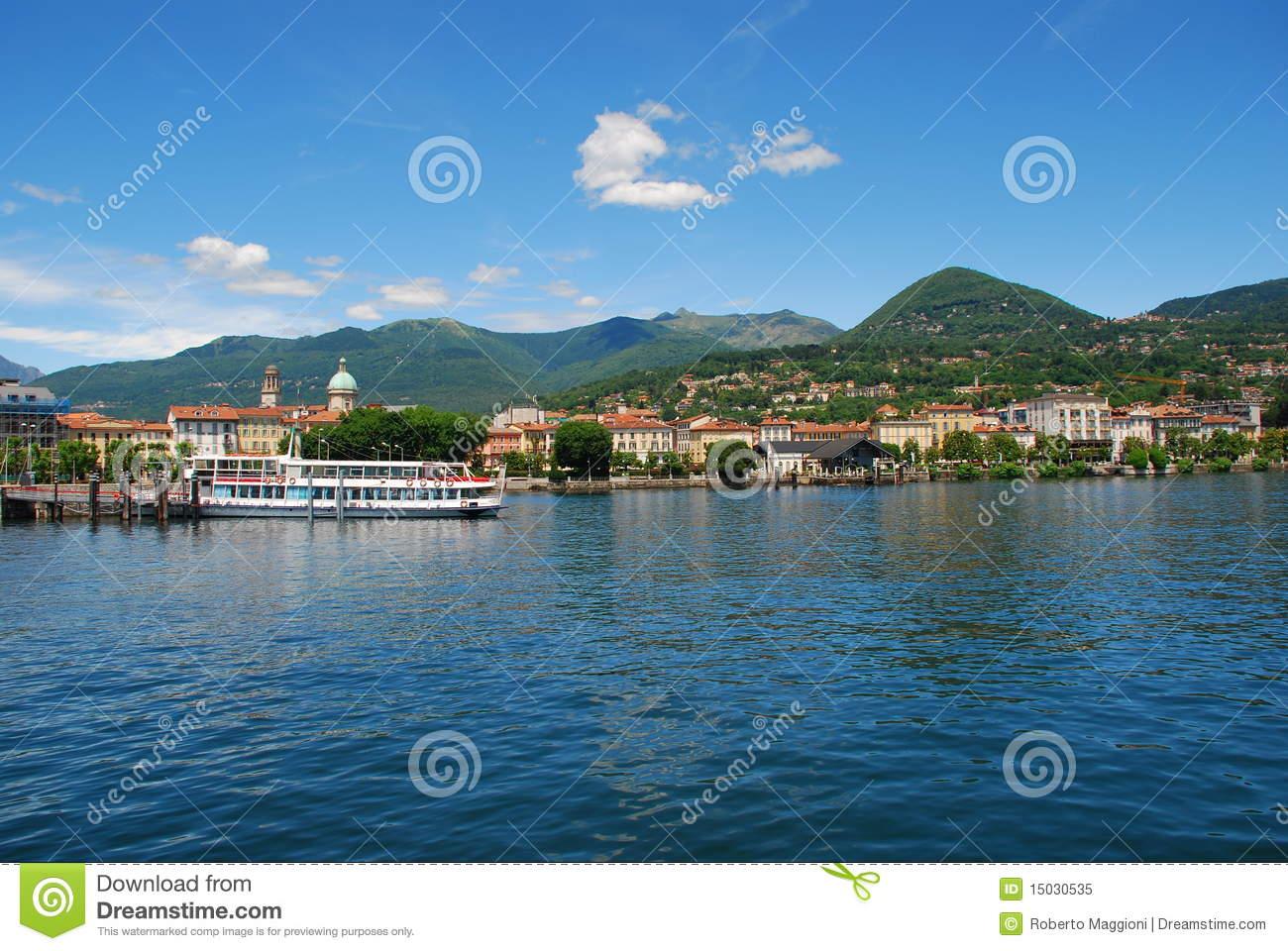 Lake Maggiore, Italy. Verbania Intra Royalty Free Stock Photo.