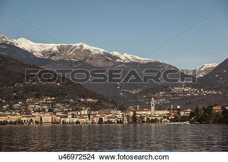Stock Photo of Verbania and Lake Maggiore, Piemonte, Novara, Italy.
