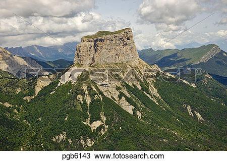 Stock Photo of France. Drome, Mont Aiguille, Rocher des Cotes and.