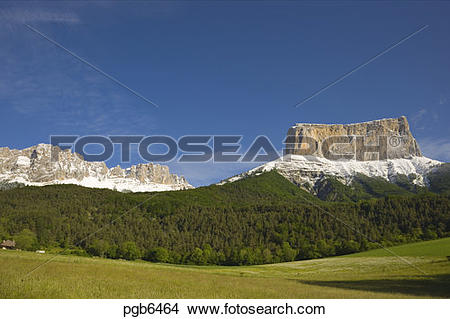 Stock Photo of Mont Aiguille and Rochers du Parquet on edge of.