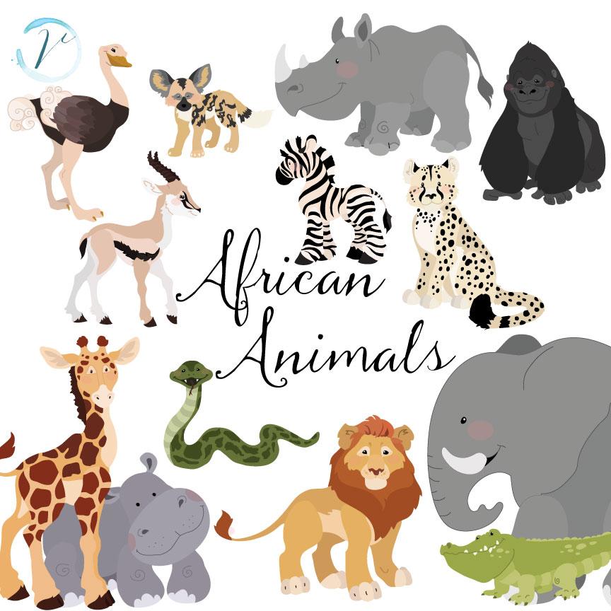 African Animals Vectors & Clipart by Verdigris Studios.