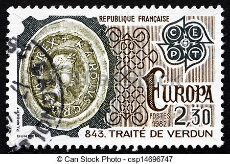 Stock Photo of Postage stamp France 1982 Treaty of Verdun, 843.