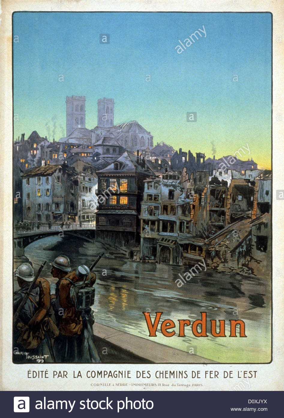 World War I, French, Propaganda, Poster, Soldiers, River, Meuse.