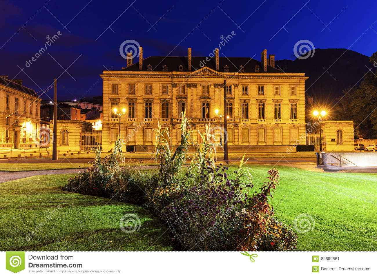 Old Library On Place De Verdun In Grenoble Stock Photo.