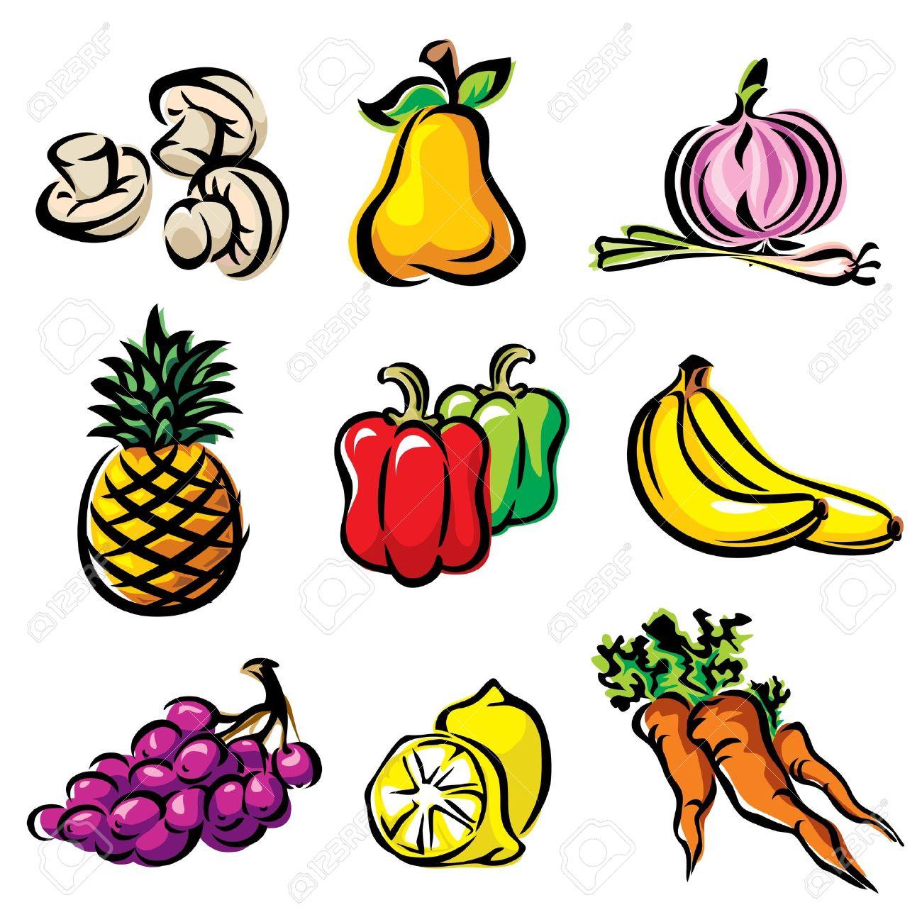 Impostare Il Colore Immagine Frutta E Verdura Clipart Royalty.