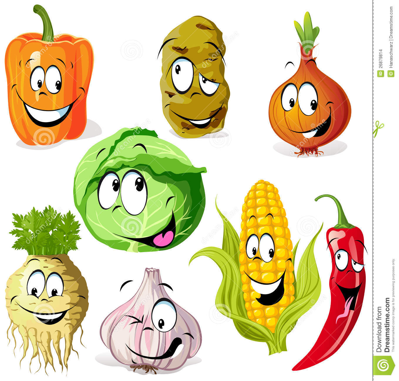 Funny Vegetable Cartoon Royalty Free Stock Photo.