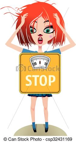 Clip Art Vector of obsession with the scale.