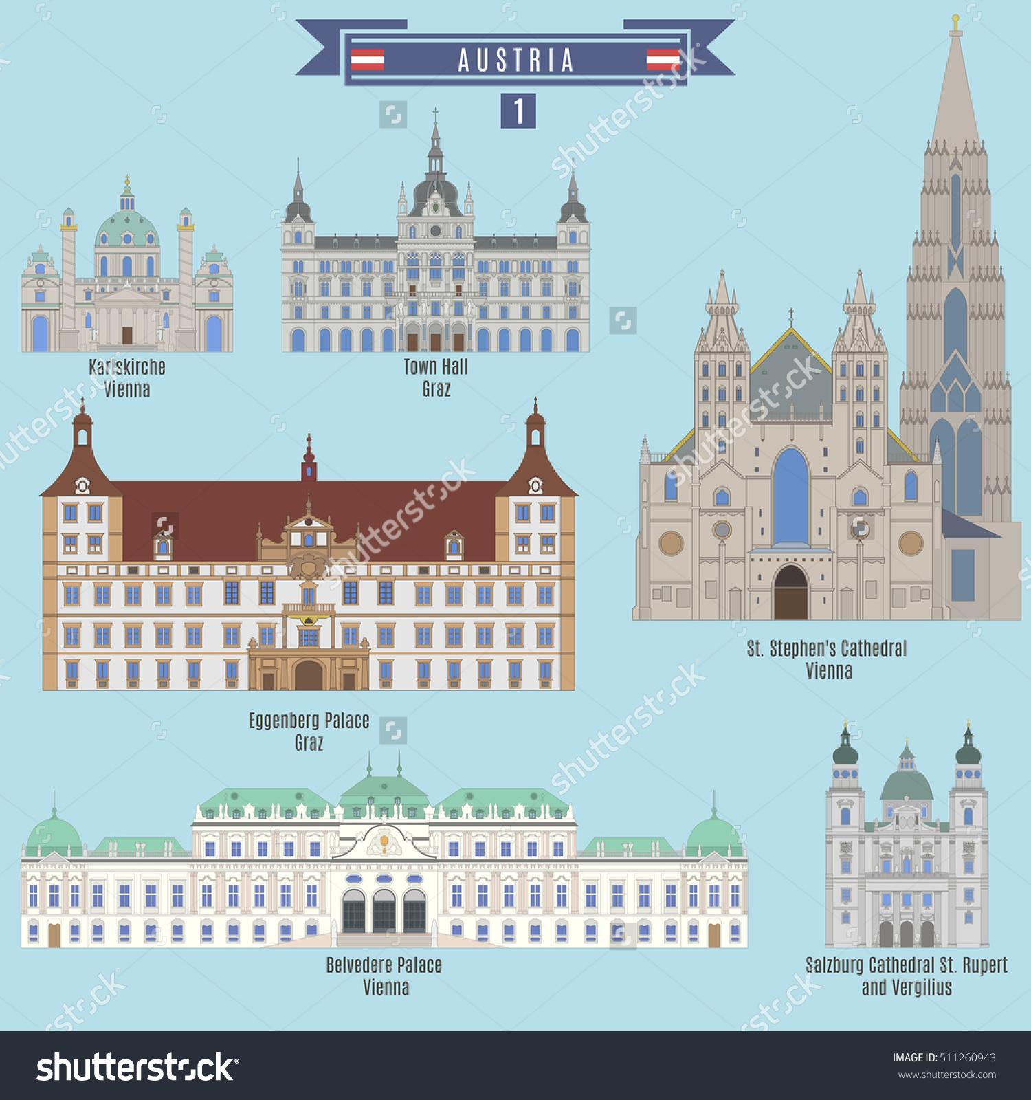 Famous Places Austria Karlskirche Vienna Eggenberg Stock Vector.