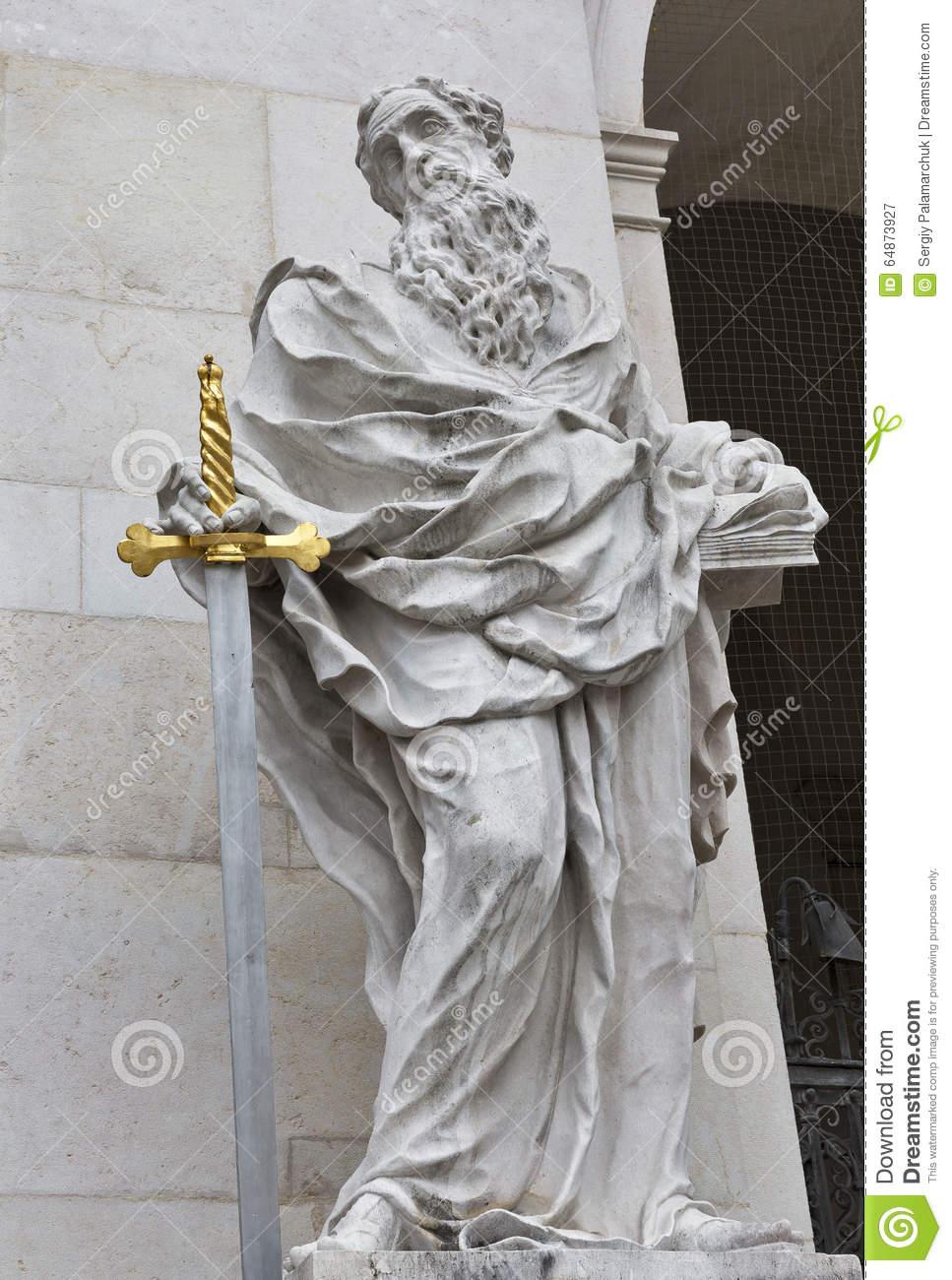 St. Paul Statue, Salzburg Cathedral At Domplatz, Austria. Stock.