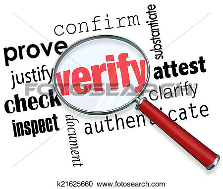 Stock Photography of Verify Word Magnifying Glass Certify Prove.