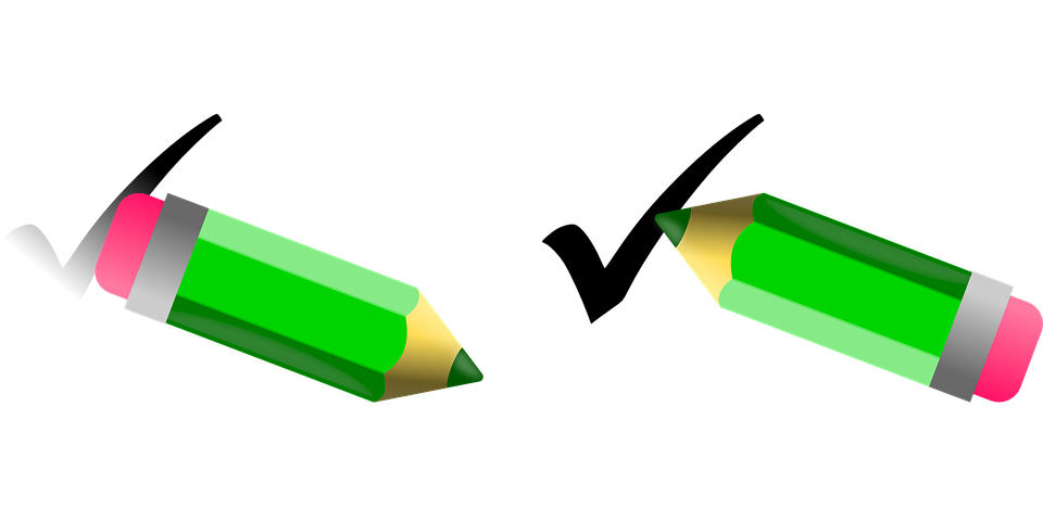 Free vector graphic: Pencil, Pen, Rubber, Eraser, Check.