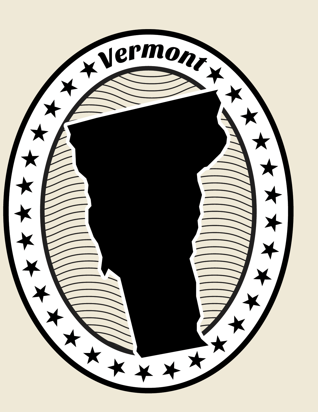 Vermont Grunge Map Black and White Stamp Collection.