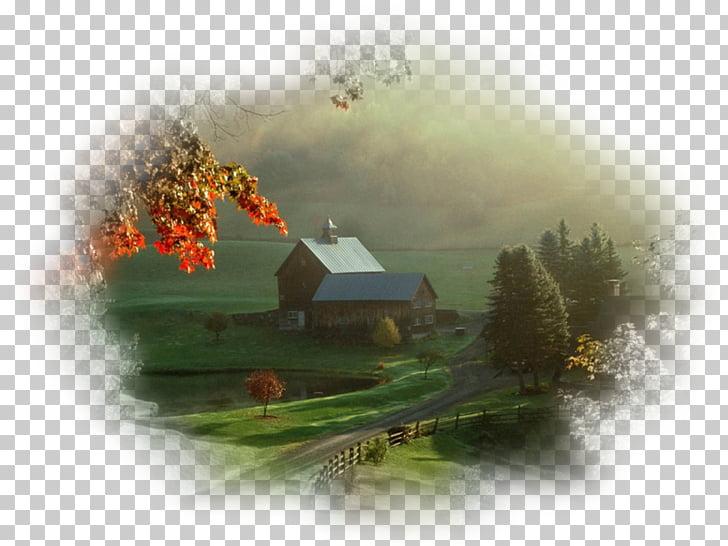 Vermont Farmhouse Landscape, house PNG clipart.