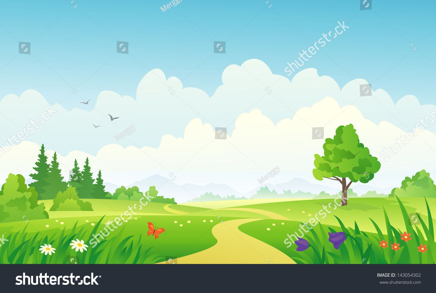 Vector illustration of a beautiful summer landscape.