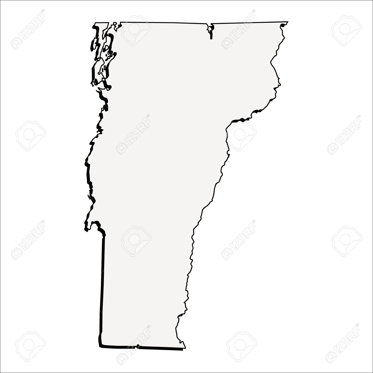 Vector Vermont State 3D Outline Map Royalty Free Cliparts, Vectors.