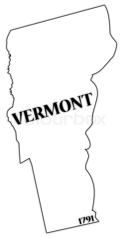 A Vermont state outline with the date of statehood isolated on a.