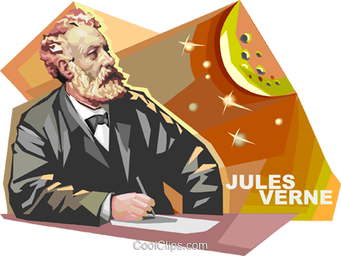 French author Jules Verne Royalty Free Vector Clip Art.