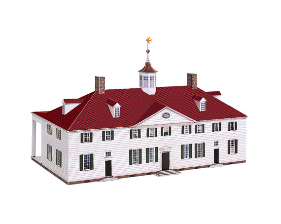 Mount Vernon paper model of George Washington's by PaperLandmarks.