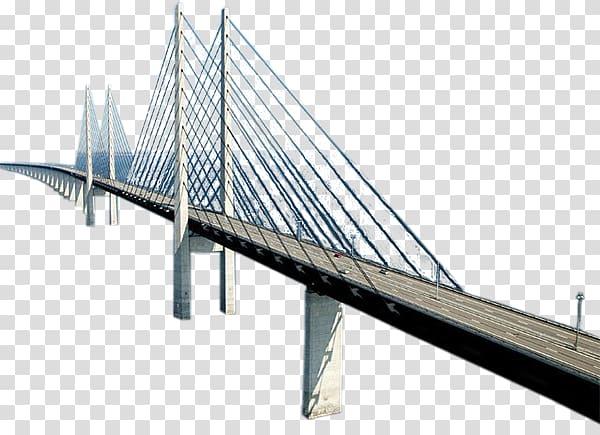 White suspension bridge art, Logistics Cable.