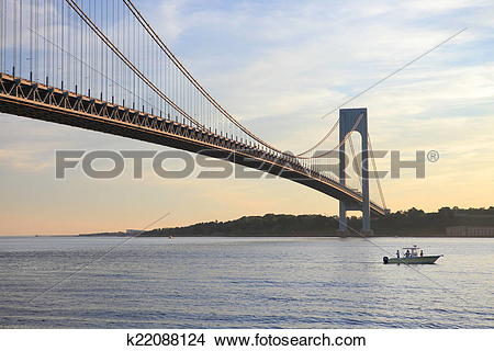 Stock Photo of boat under Verrazano.