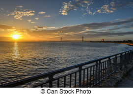 Stock Photography of Verrazano Narrows Bridge at Sunset.
