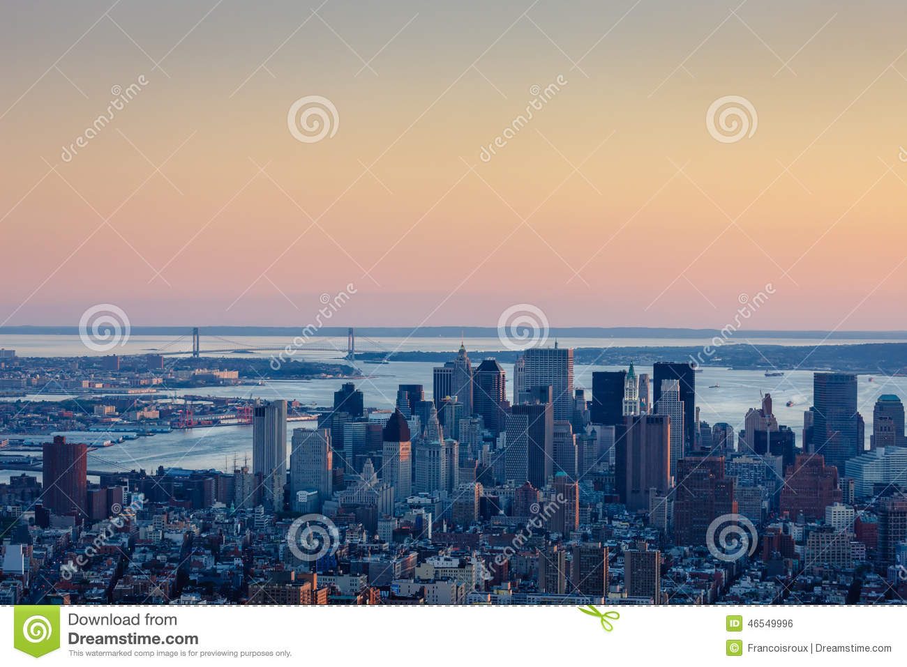 Verrazano Bridge Dusk In New York Stock Photo.
