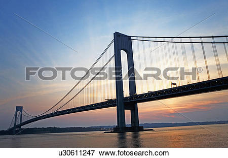 Picture of Sunrise at Verrazano bridge, New York, United States.